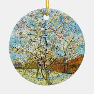 Perzikbomen in Bloesem Vincent van Gogh Rond Keramisch Ornament