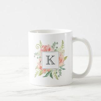 Perziken en de Waterverf van de Room Bloemen met Koffiemok