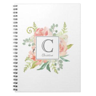 Perziken en de Waterverf van de Room Bloemen met Ringband Notitieboek