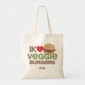 PETA Ik [love] veggie burgers Budget Draagtas