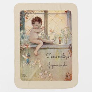 Peter Pan bij venster - feeën - beige achtergrond Inbakerdoek