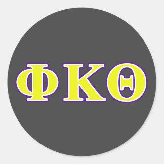 Phi Kappa de Gele en Paarse Brieven van de Theta Ronde Stickers