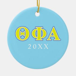 Phi van de theta Alpha- Gele en Blauwe Brieven Rond Keramisch Ornament
