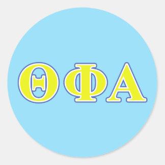 Phi van de theta Alpha- Gele en Blauwe Brieven Ronde Sticker