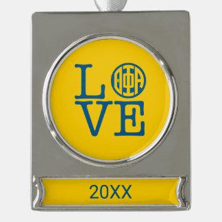 Phi van de theta Alpha- Liefde Verzilverd Banner Ornament