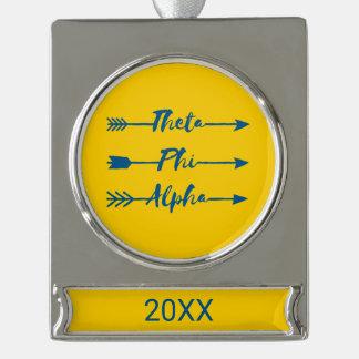 Phi van de theta Alpha- Pijl Verzilverd Banner Ornament