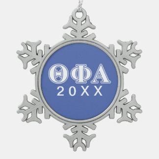 Phi van de theta Alpha- Witte en Blauwe Brieven Tin Sneeuwvlok Ornament
