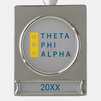Phi van de theta Gestapeld Alpha- Verzilverd Banner Ornament