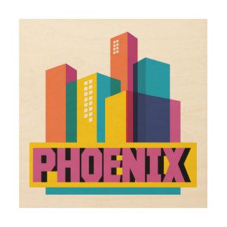 Phoenix, Arizona   Horizon van het Neon Hout Afdruk