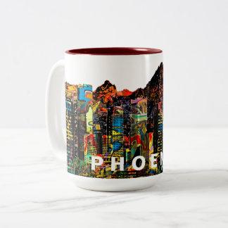 Phoenix in graffiti tweekleurige koffiemok