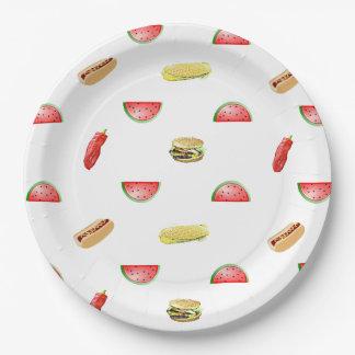 Picknick die uit Tafelkleed Veggies roosteren en Papieren Bordje