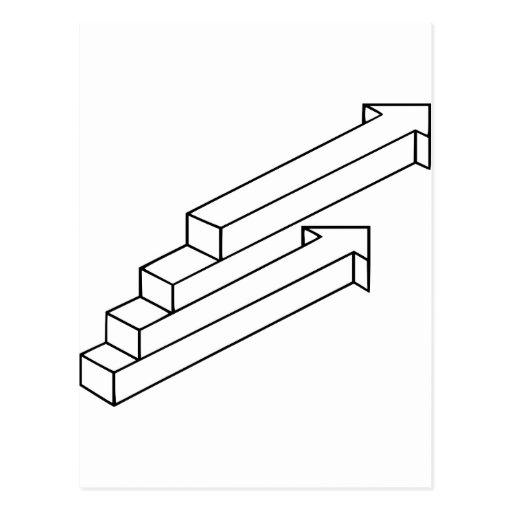 pijl of de optische illusie van treden briefkaart zazzle. Black Bedroom Furniture Sets. Home Design Ideas