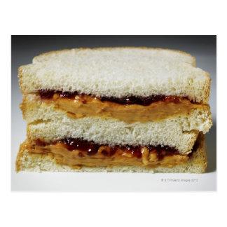 Pindakaas en geleisandwich briefkaart