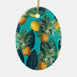 pineaple en citroenenwintertaling keramisch ovaal ornament