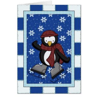 Pinguïn op Schaatsen Wenskaart