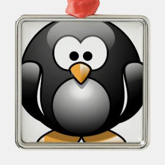 Pinguïn/Penguin Zilverkleurig Vierkant Ornament
