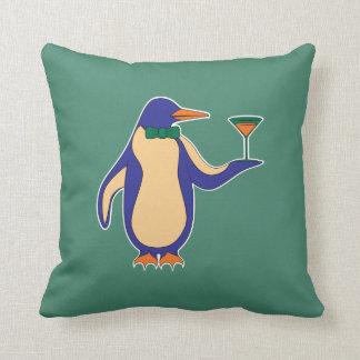 "Pinguïnen en Martini 16 "" x16"" Groen Hoofdkussen - Sierkussen"