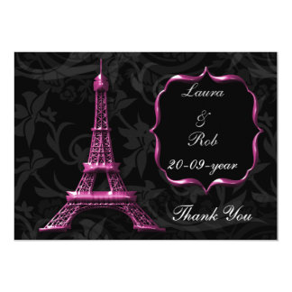 "pink Eiffel tower French Thank You 5"" X 7"" Invitation Card"