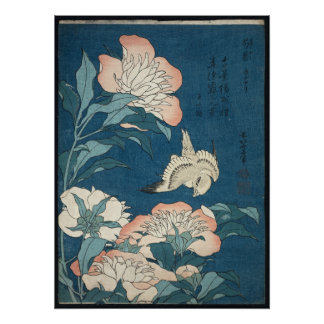 Pioenen en Kanarie door Katsushika Hokusai 1834 Poster