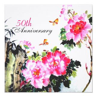 Pioenen & Vlinders/het Jubileum van het Huwelijk Kaart