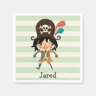 Piraat op de Groene Strepen van de Pastelkleur Wegwerp Servetten