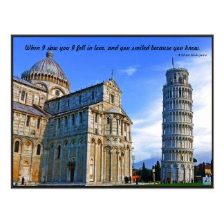 Pisa de Leunende Toren met het Citaat van de Briefkaart