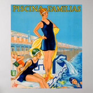 Piscina Familias die Vintage Poster zwemmen