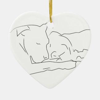 Pitifully in Liefde Keramisch Hart Ornament