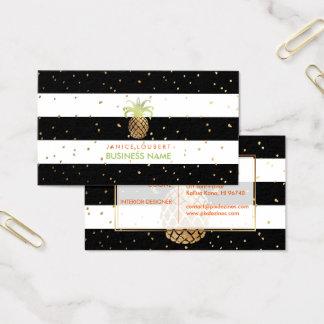PixDezines Faux Gouden Pineapples/B+W Strepen Visitekaartjes