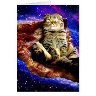 pizza kat - gekke kat - katten in ruimte briefkaarten 0