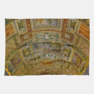 Plafond in het Museum van Vatikaan in Rome Italië Theedoek