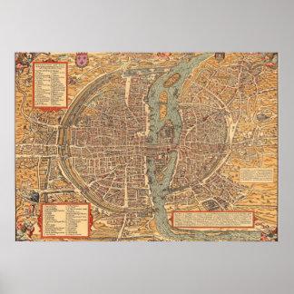 Plan 1575 van Parijs Poster