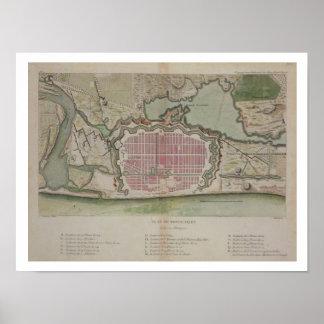 Plan van Pondicherry, van 'Reis aux Indes et La Poster