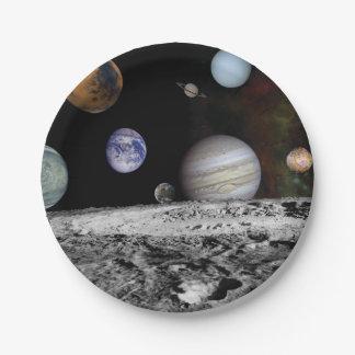 Planeten van het zonnestelsel papieren bordje