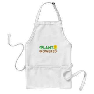 plant met leuke zonnebloem wordt aangedreven die standaard schort