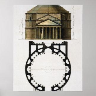 Plattegrond en voorzijde van het Pantheon, Rome, v Poster