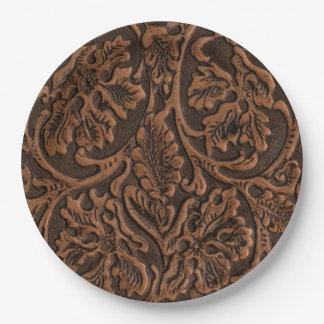 Plattelander In reliëf gemaakt Leer Papieren Bordje