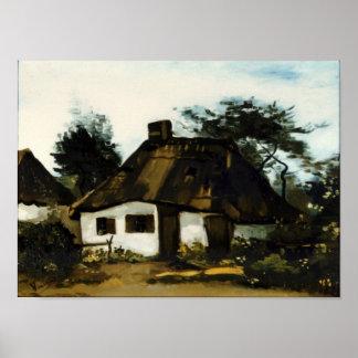 Plattelandshuisje met Trees Van Gogh Fine Art. Poster