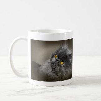 Pluizige Donkere Kat met Oranje Ogen Koffiemok
