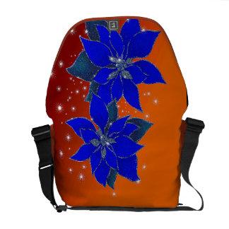 Poinsettia die van Kerstmis fonkelen Messenger Bags