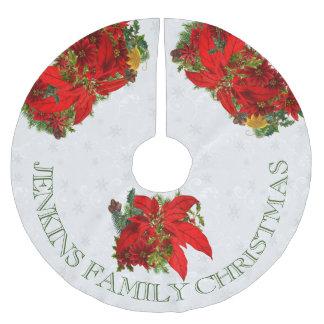 Poinsettia en Witte Sneeuwvlokken met Tekst Kerstboom Kleed