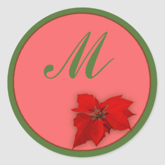 Poinsettia Ronde Sticker