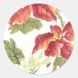 Poinsettia Ronde Sticker