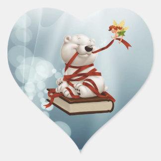 Polaire teddybeer met boeken en fee hartvormige sticker