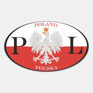 Polen Polska PL Ovale Sticker