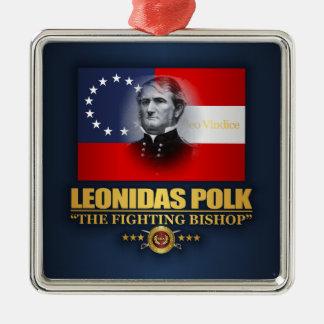 Polk (Zuidelijke Patriot) Zilverkleurig Vierkant Ornament