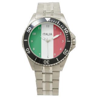 Polshorloge voor man met vlag van Italië