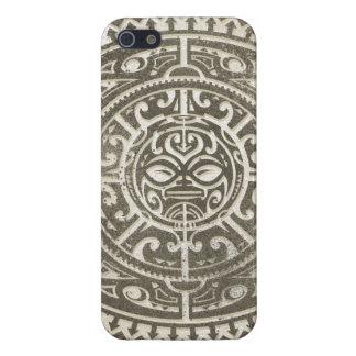 Polynesisch Stammen Bruin Gezicht iPhone 5 Hoesjes