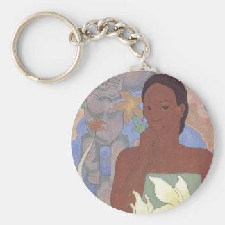 """Polynesische Vrouw en Tiki"" - Keychain Sleutelhanger"
