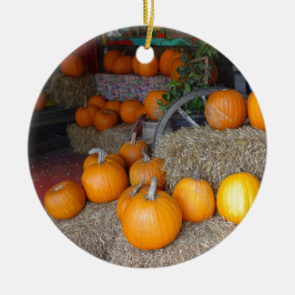 Pompoenen op Stro Rond Keramisch Ornament